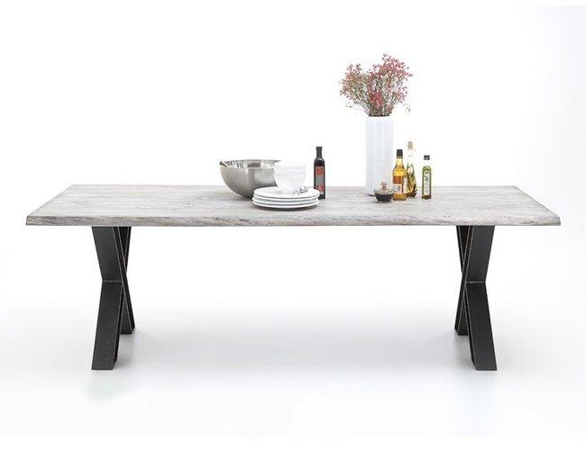 BODAHL Woodstock plankebord - ice grey eg, m. udtræk (bark kant) 200 x 100 cm X-ben