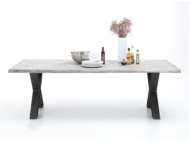bodahl Bodahl woodstock plankebord - ice grey eg, m. udtræk (bark kant) 180 x 100 cm x-ben fra boboonline.dk
