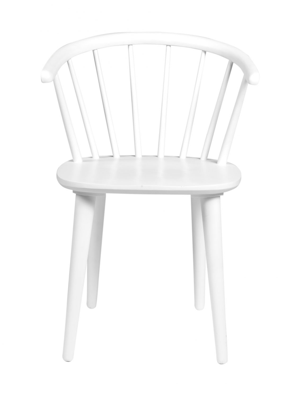 Carmen spisebordsstol - hvidt træ, m. armlæn