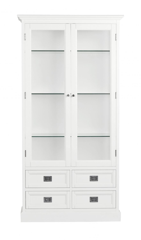 Koster vitrineskab - hvid m. 2 glaslåger