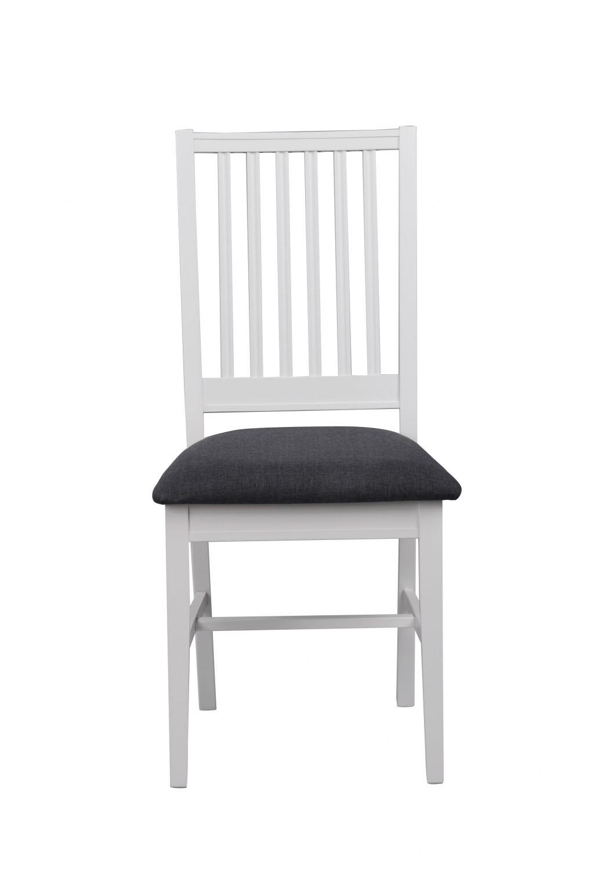 Koster spisebordsstol - hvidt træ/gråt stof