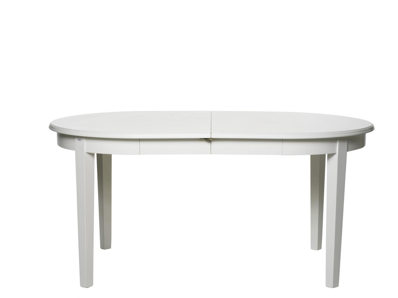 Koster spisebord - hvid, oval inkl. 2 tillægsplader