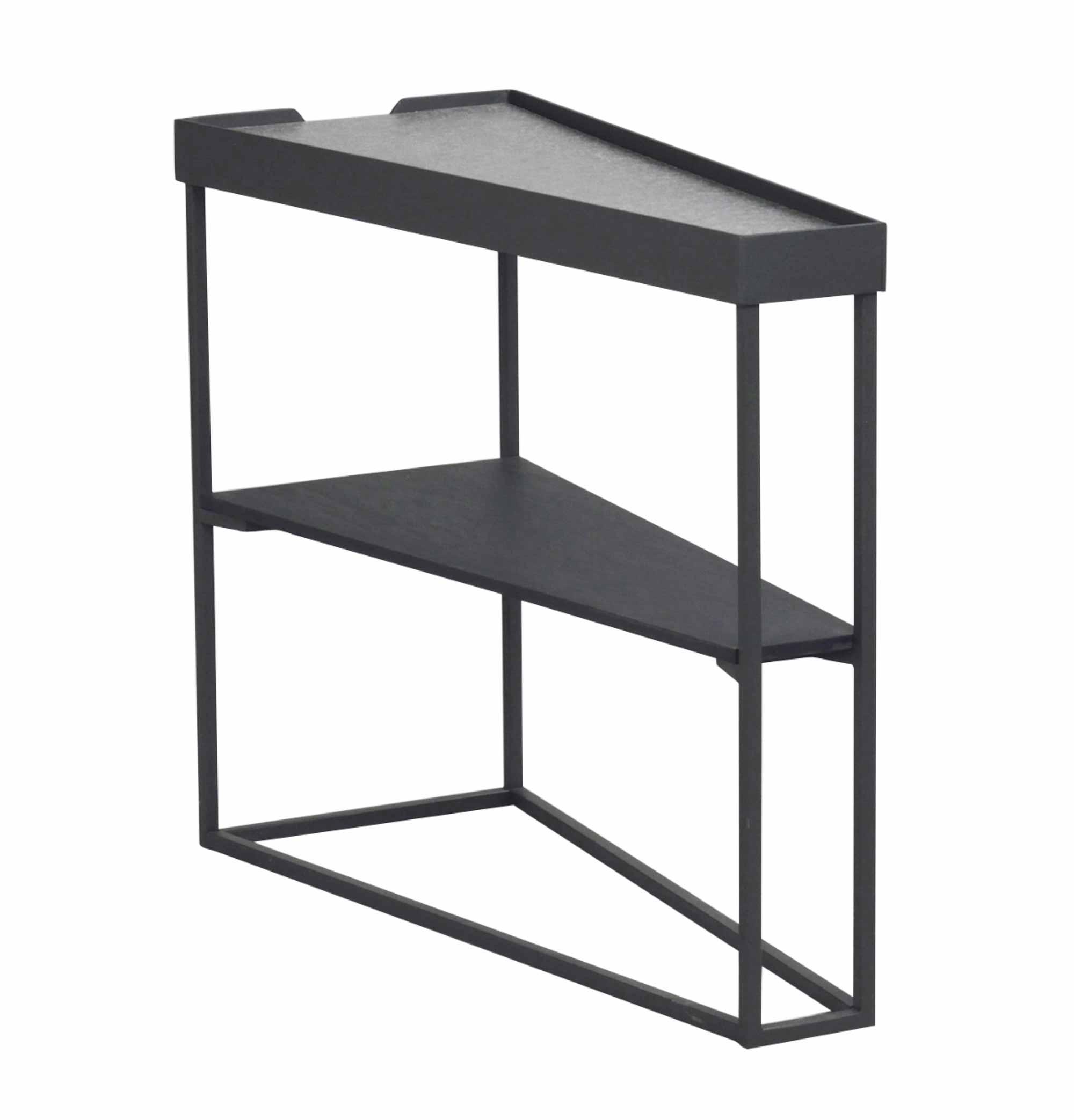 Image of   Pebble sidebord - grå cementfiberplade/sort metal og træ, 1 hylde