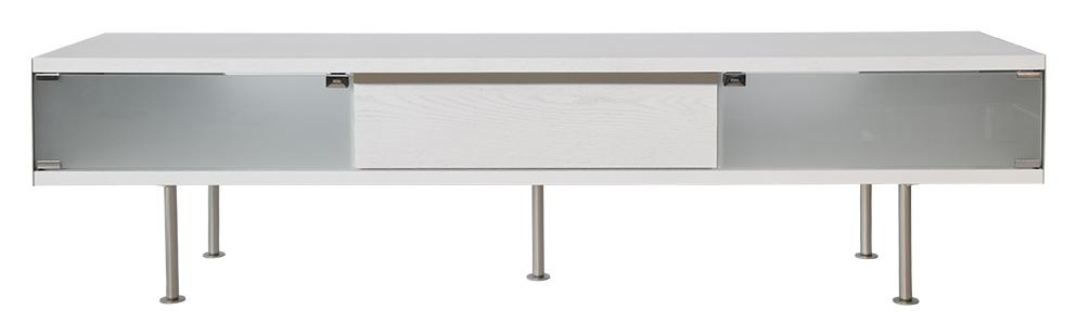 rge Rge frank tv-bord med skuffe - hvid/naturfarvet træ, uden hjul, (46x180cm) fra boboonline.dk
