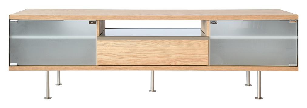 Rge frank tv-bord - naturfarvet træ, m. skuffe og glashylde, uden hjul, (50x167cm) fra rge på boboonline.dk