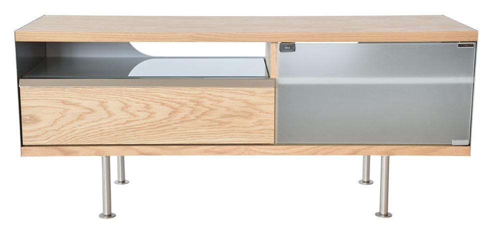 rge – Rge frank tv-bord - naturfarvet træ, m. skuffe og opbevaring, uden hjul, (50x116cm) på boboonline.dk