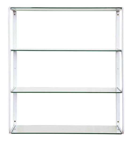 RGE Ellen vægreol - hvid metal m. glas