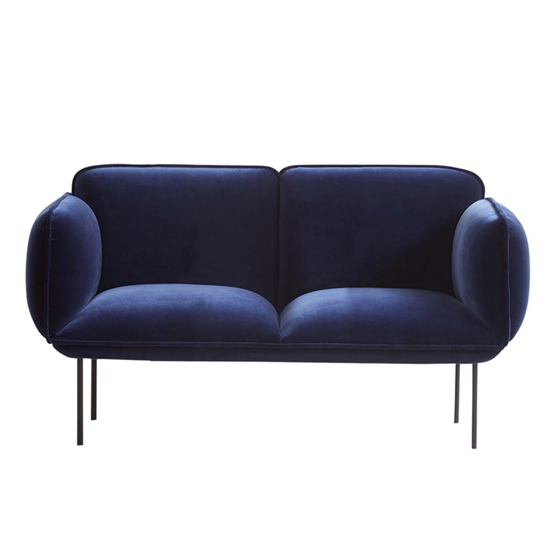 woud Woud nakki small 2 pers. sofa - blå fløjl og metal fra boboonline.dk