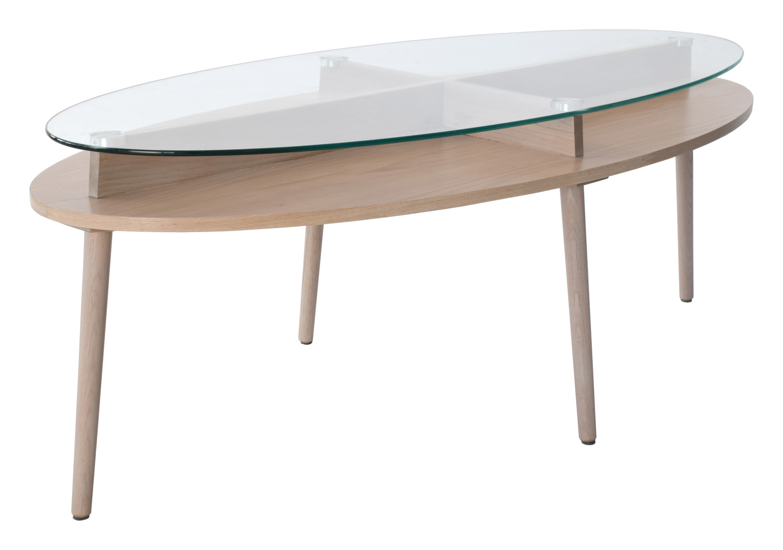 RGE Solo sofabord - klar/natur glas/egetræsfinér/egetræ, oval, m. opbevaringsplads