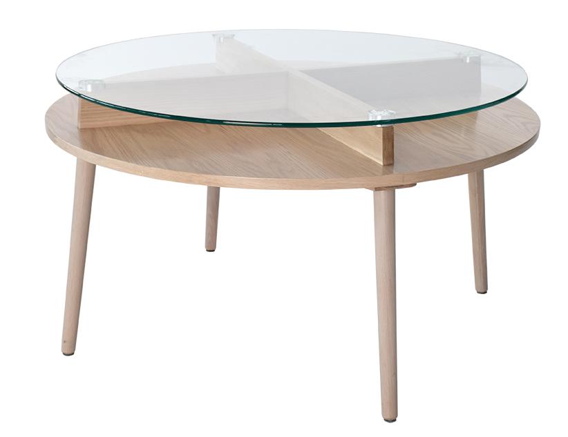 rge Rge solo sofabord - naturfarvet træ med glas, rund, (51x90x90cm) fra boboonline.dk