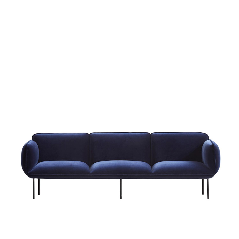 WOUD Nakki 3 pers. sofa - blå velour, rektangulær (245x78)