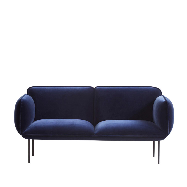 WOUD Nakki 2 pers. sofa - blå velour