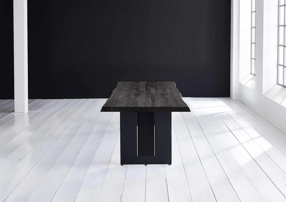 Concept 4 You Plankebord - Barkkant Eg med Steven ben, m. udtræk 6 cm 240 x 100 cm 07 = mocca black