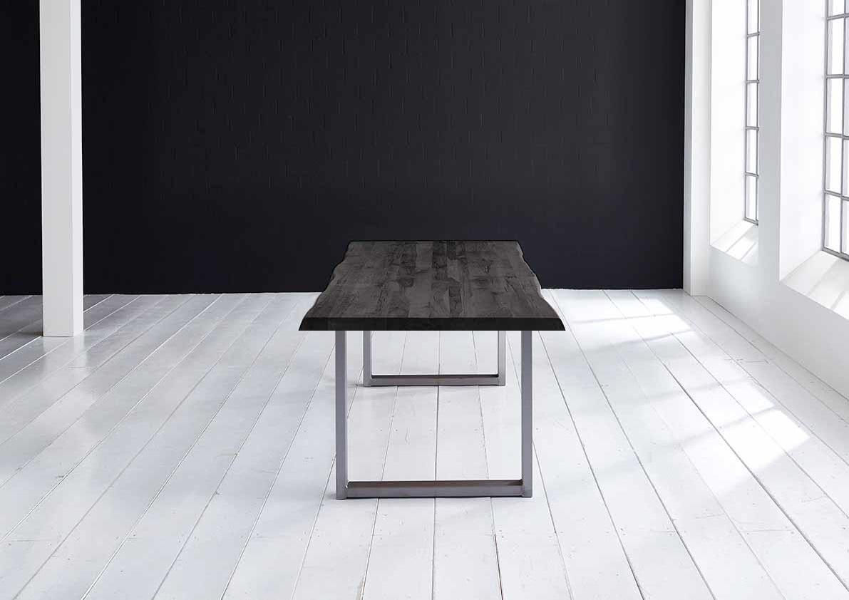 Concept 4 You Plankebord - Barkkant Eg med Manhattan ben, m. udtræk 6 cm 280 x 100 cm 07 = mocca black