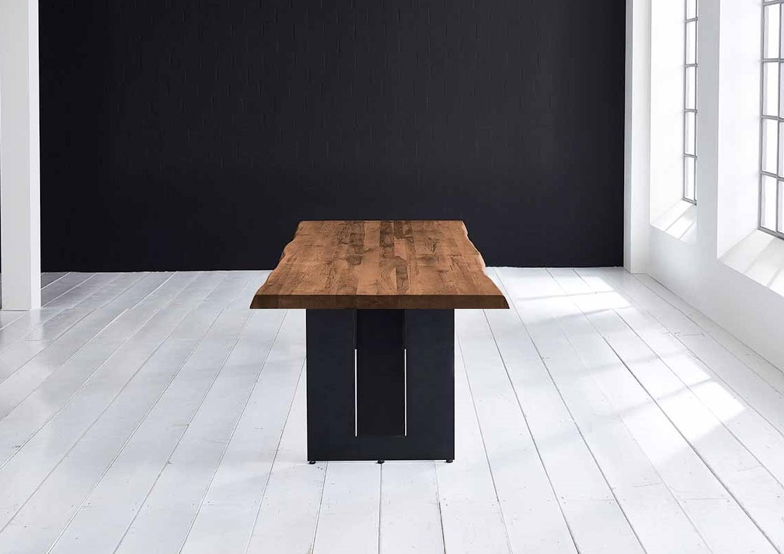 BODAHL Concept 4 You plankebord - massiv egetræ m. barkkant og Steven ben, m. udtræk 6 cm 280 x 100 cm 06 = old bassano
