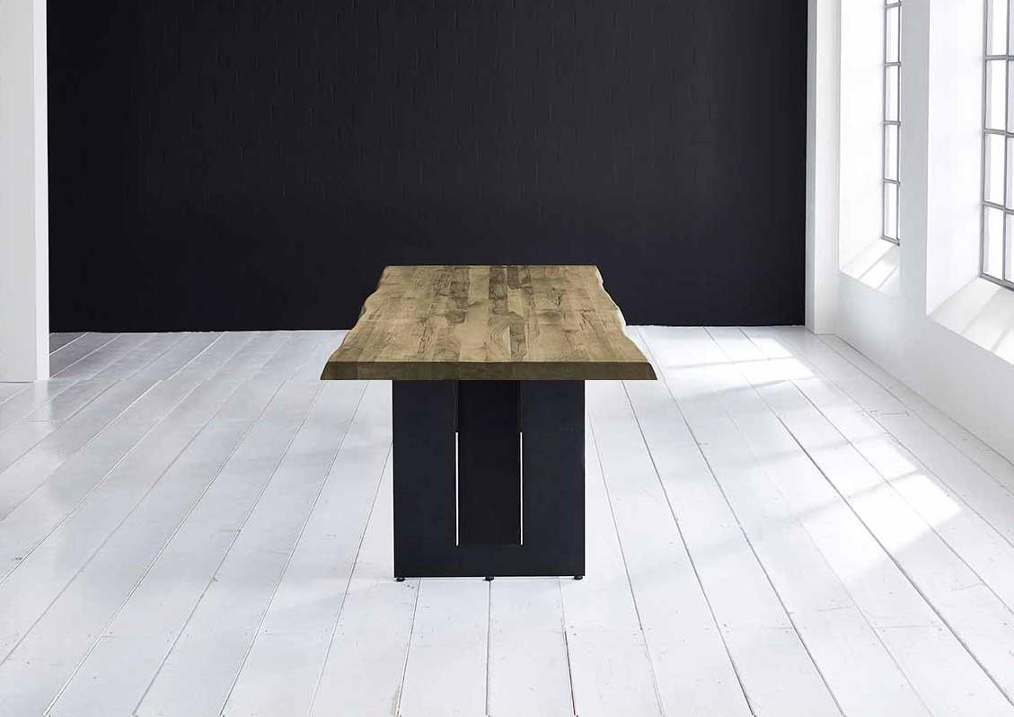 Concept 4 You Plankebord - Barkkant Eg med Steven ben, m. udtræk 6 cm 280 x 110 cm 05 = sand