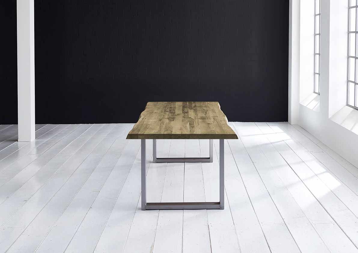 Concept 4 You Plankebord - Barkkant Eg med Manhattan ben, m. udtræk 6 cm 300 x 110 cm. 04 = desert