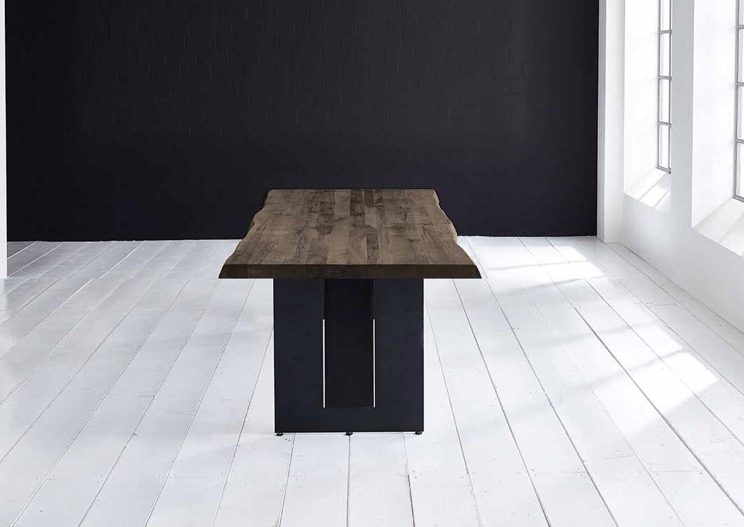BODAHL Concept 4 You plankebord - massiv egetræ m. barkkant og Steven ben, m. udtræk 6 cm 200 x 110 cm 02 = smoked