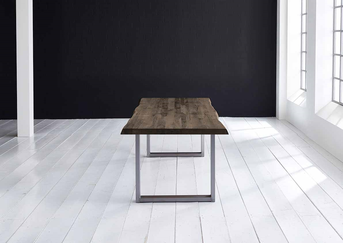 bodahl Concept 4 you plankebord - barkkant eg med manhattan ben, m. udtræk 6 cm 180 x 110 cm 02 = smoked fra boboonline.dk