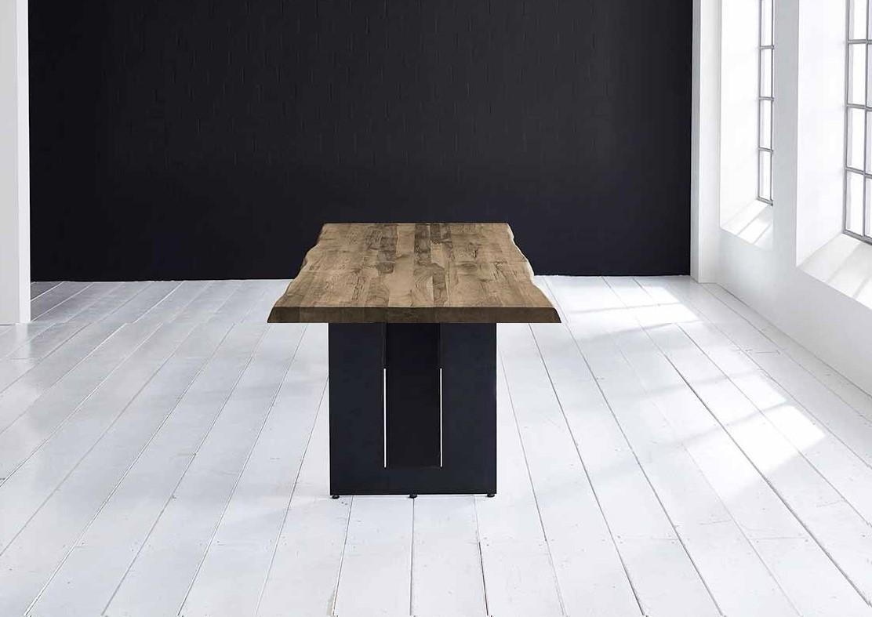 BODAHL Concept 4 You plankebord - massiv egetræ m. barkkant og Steven ben, m. udtræk 6 cm 180 x 100 cm 04 = desert