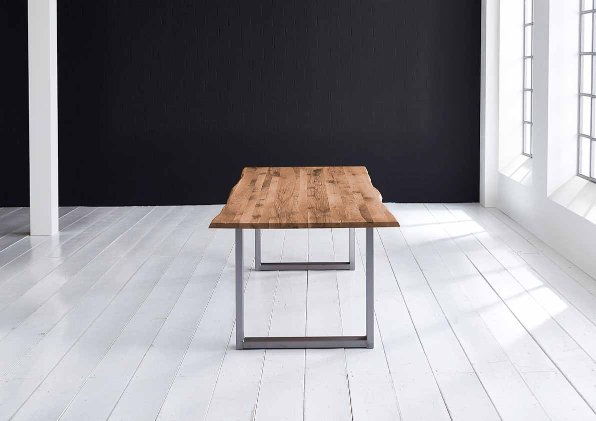 Concept 4 You plankebord - eg, m. barkkant og Manhattan ben, m. udtræk (180-260x100) 6 cm 180 x 100 cm 05 = sand