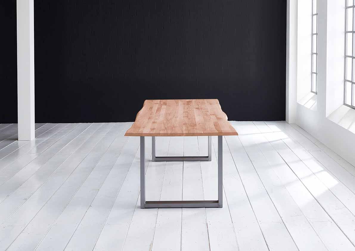 Concept 4 You Plankebord - Barkkant Eg med U-Ben 3 cm 180 x 100 cm 03 = white wash