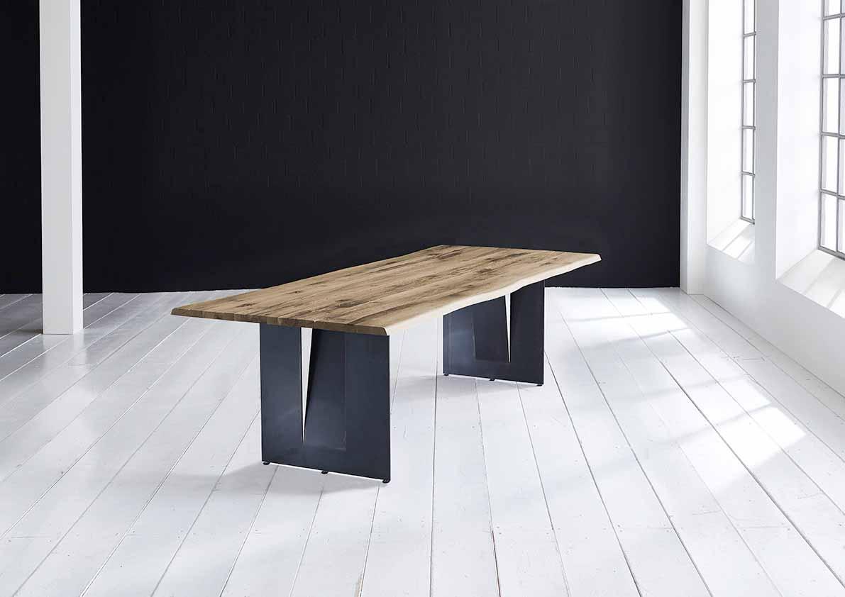 BODAHL Concept 4 You plankebord - massiv egetræ m. barkkant og Steven ben, m. udtræk 3 cm 240 x 100 cm 04 = desert