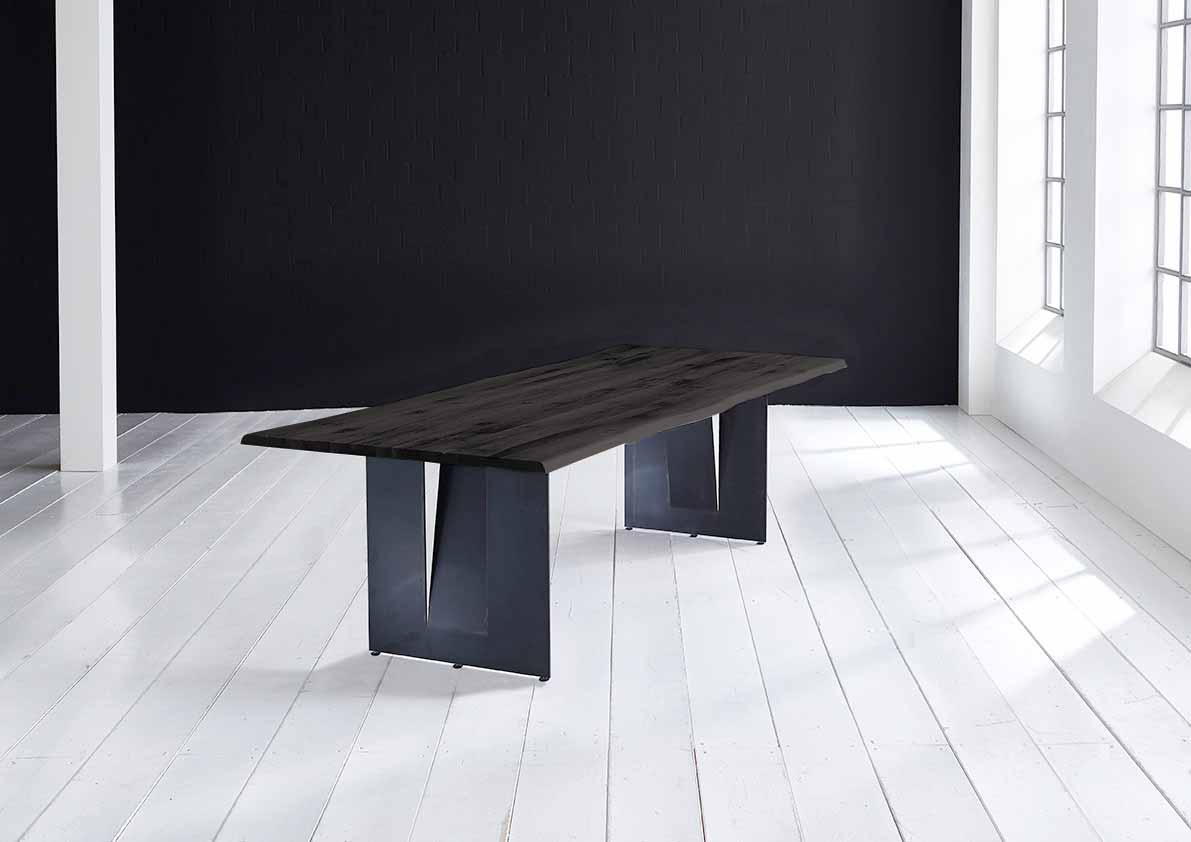 Concept 4 You Plankebord - Barkkant Eg med Steven ben, m. udtræk 3 cm 200 x 100 cm 07 = mocca black