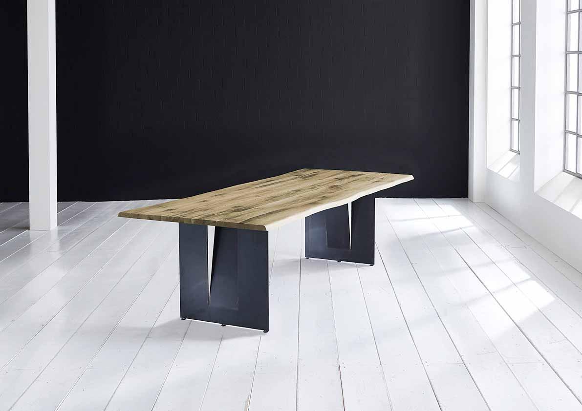 Concept 4 You Plankebord - Barkkant Eg med Steven ben, m. udtræk 3 cm 260 x 100 cm 05 = sand