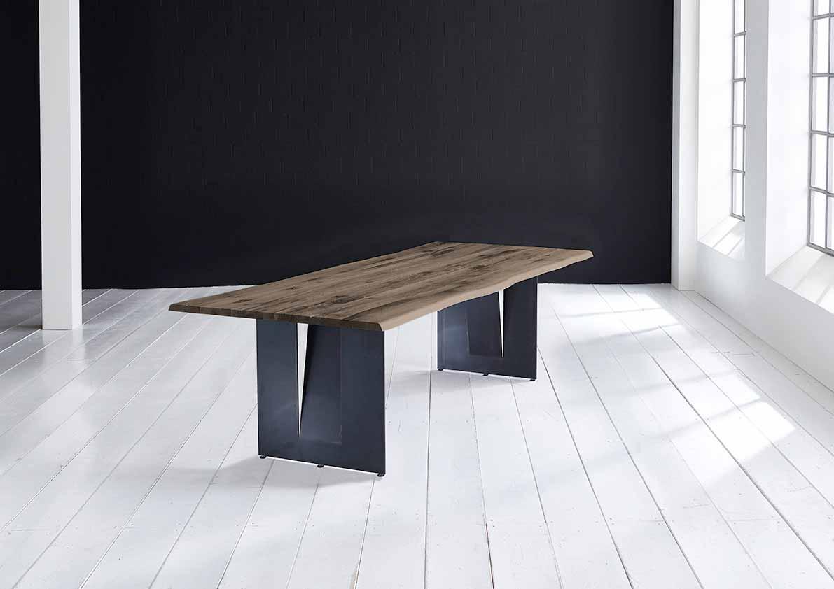 Concept 4 You Plankebord - Barkkant Eg med Steven ben, m. udtræk 3 cm 200 x 100 cm 02 = smoked