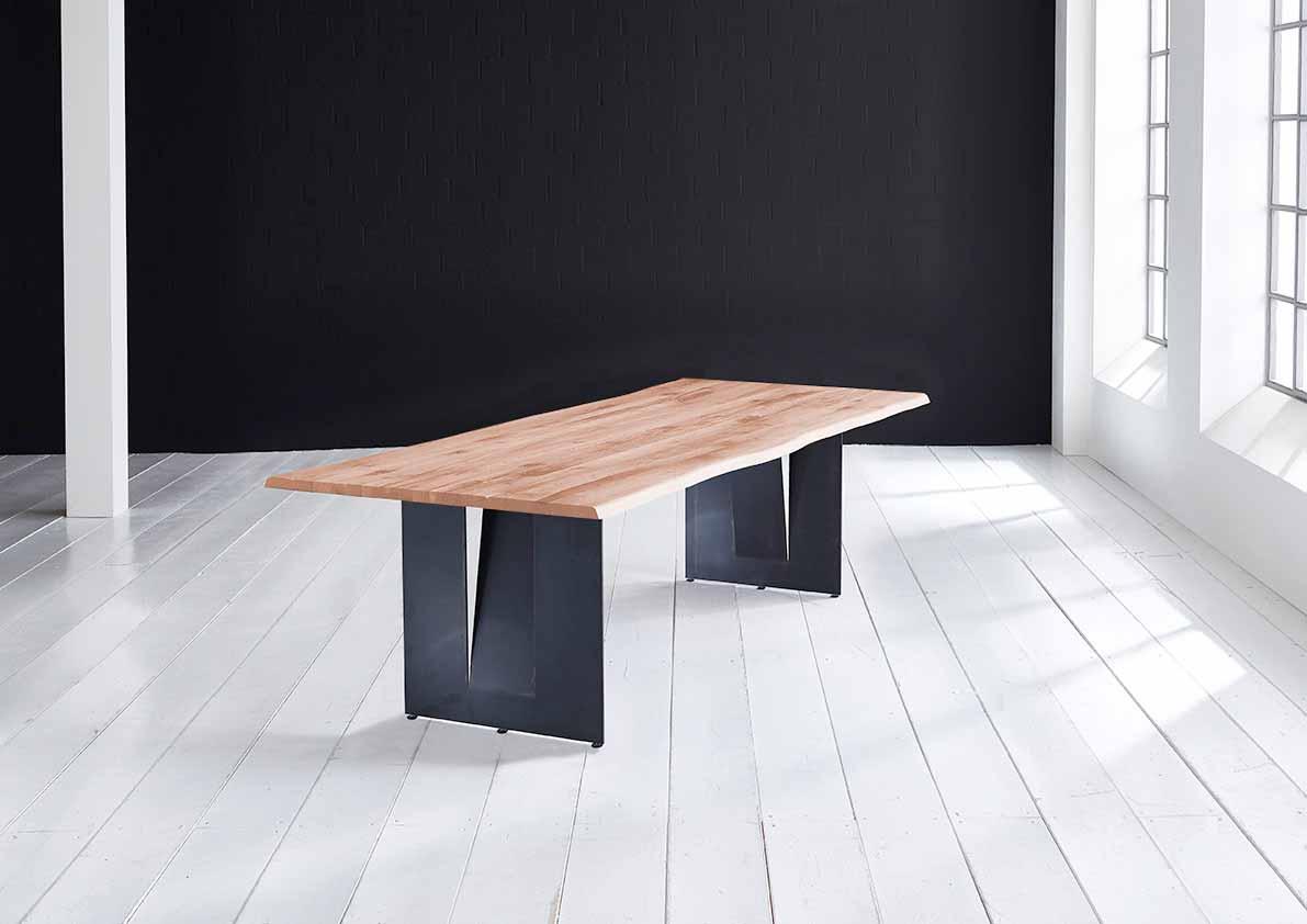 Concept 4 You Plankebord - Barkkant Eg med Steven ben, m. udtræk 3 cm 240 x 100 cm 03 = white wash
