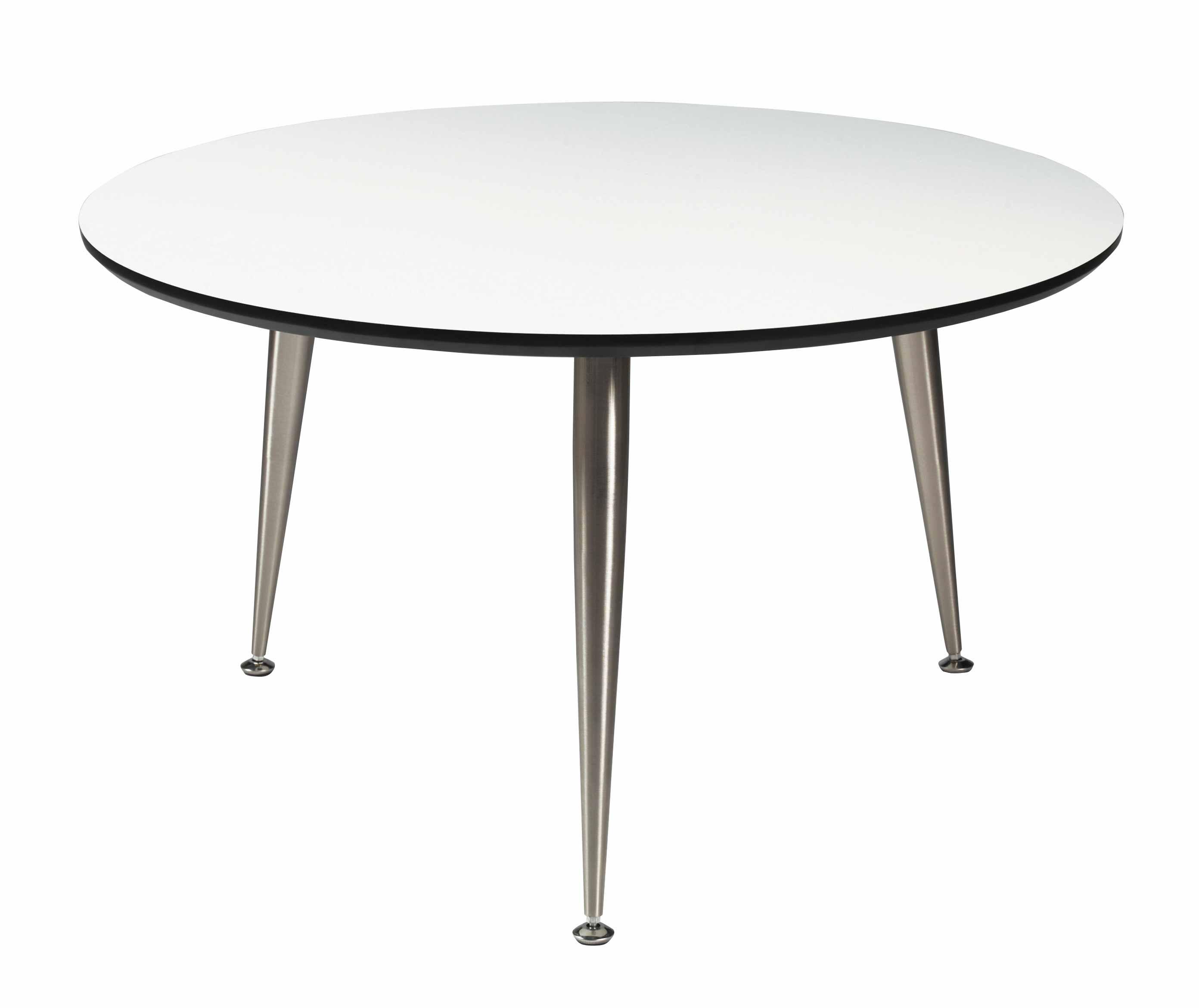 Strike sofabord - Hvidt træ, stål stel, rundt (Ø:85)