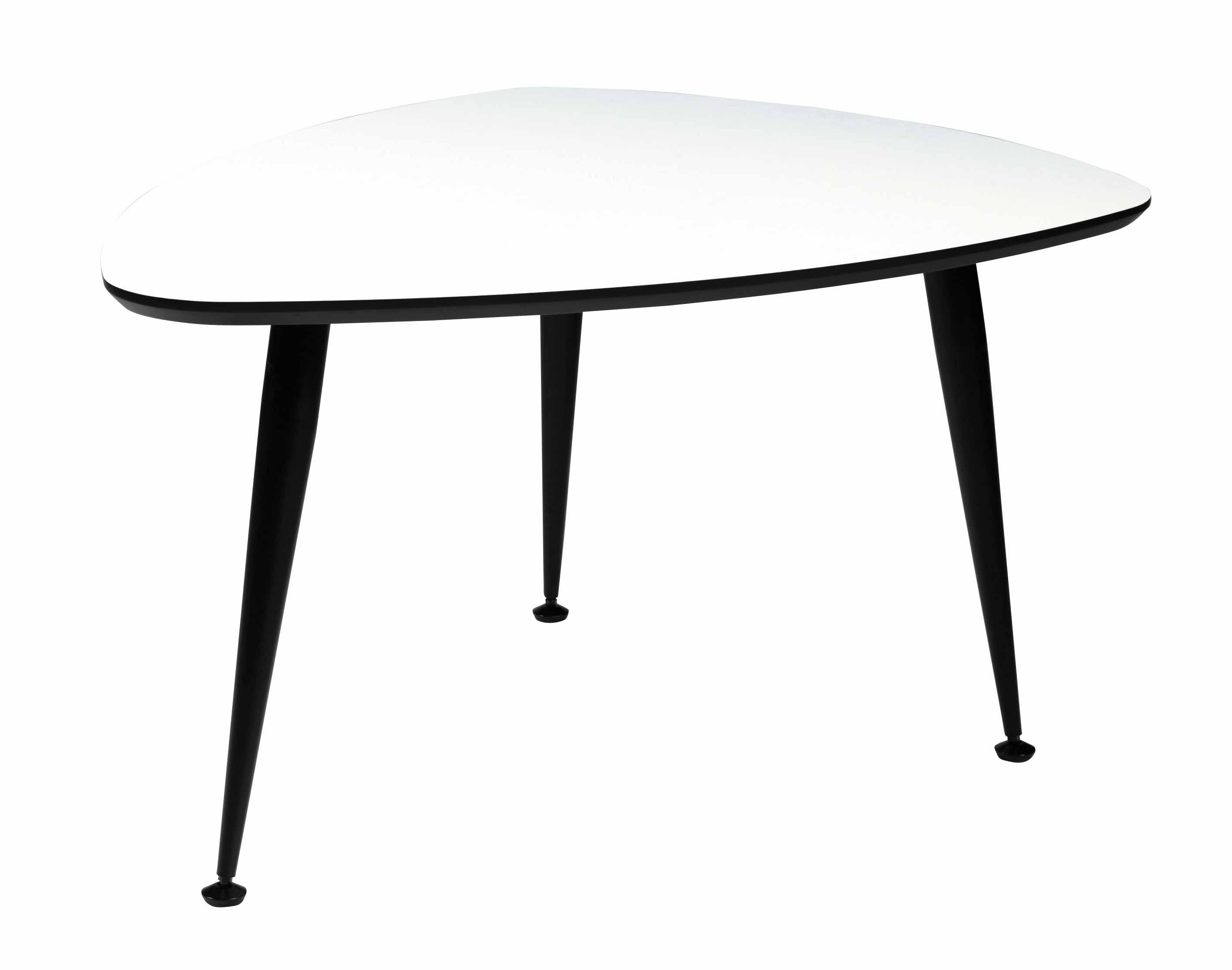 Strike sofabord - Hvidt træ, sort stål stel, trekantet