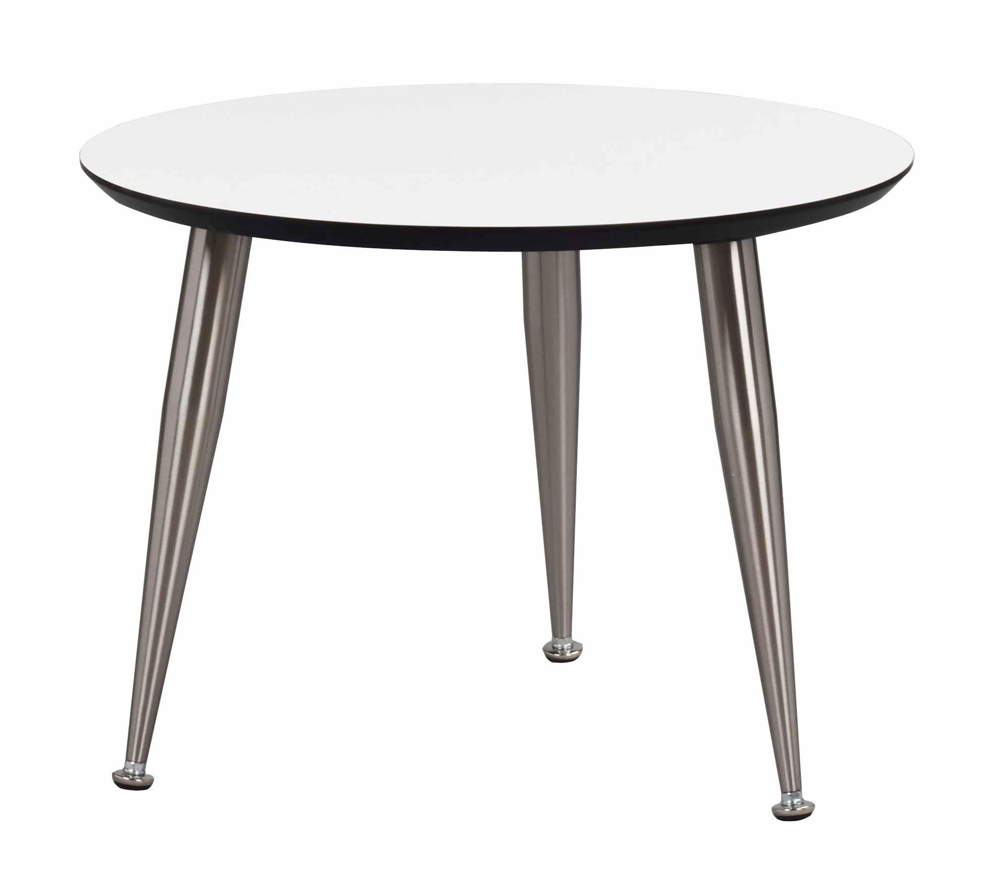 Strike sofabord - Hvidt træ, stål stel, rundt (Ø:56)