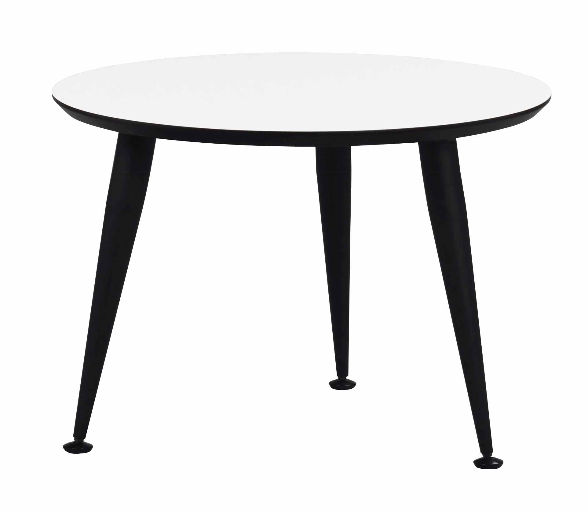 Strike sofabord - Hvidt træ, sort stål stel, rundt (Ø:56)