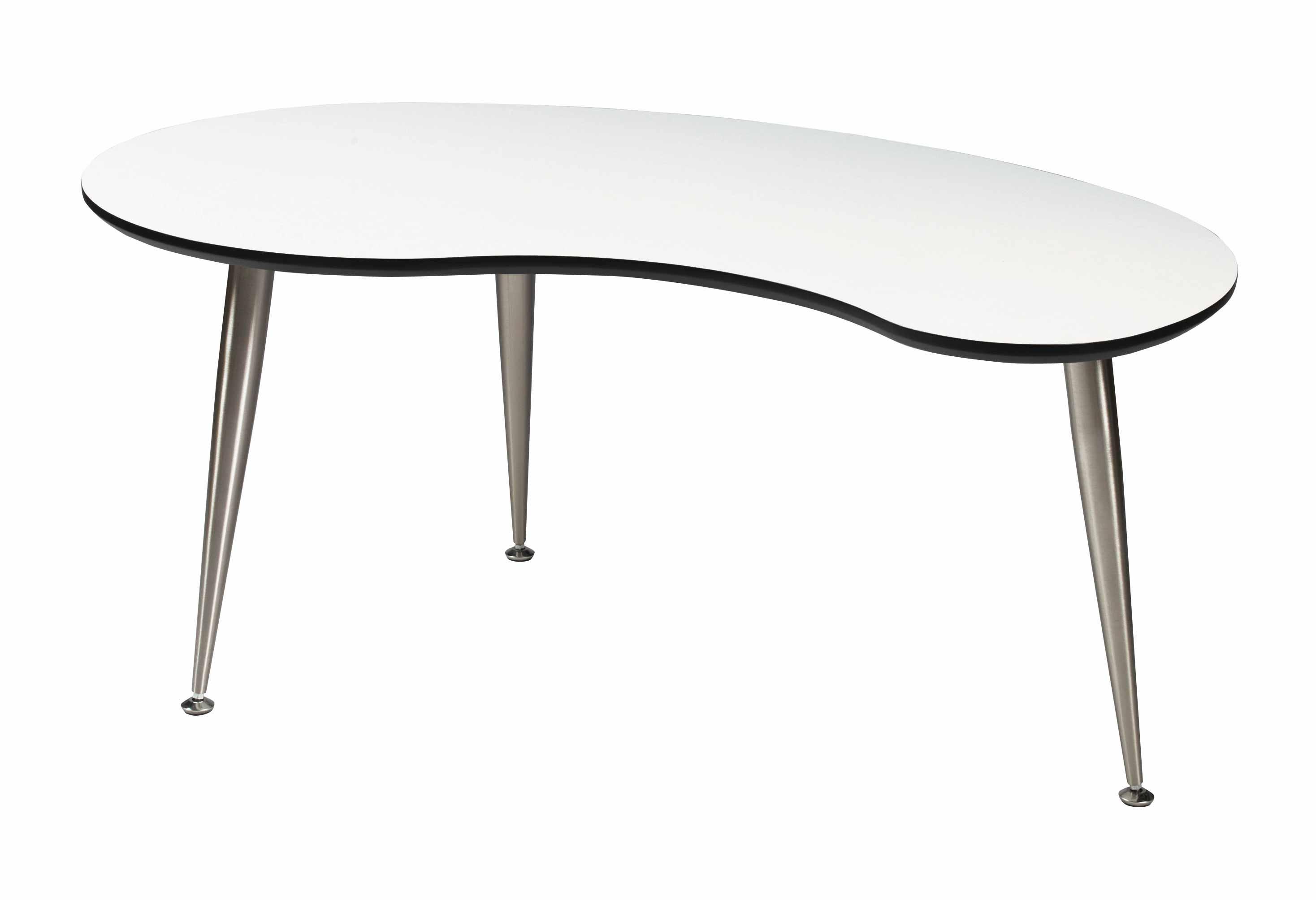 Strike sofabord - Hvidt træ, stel af rustfrit stål