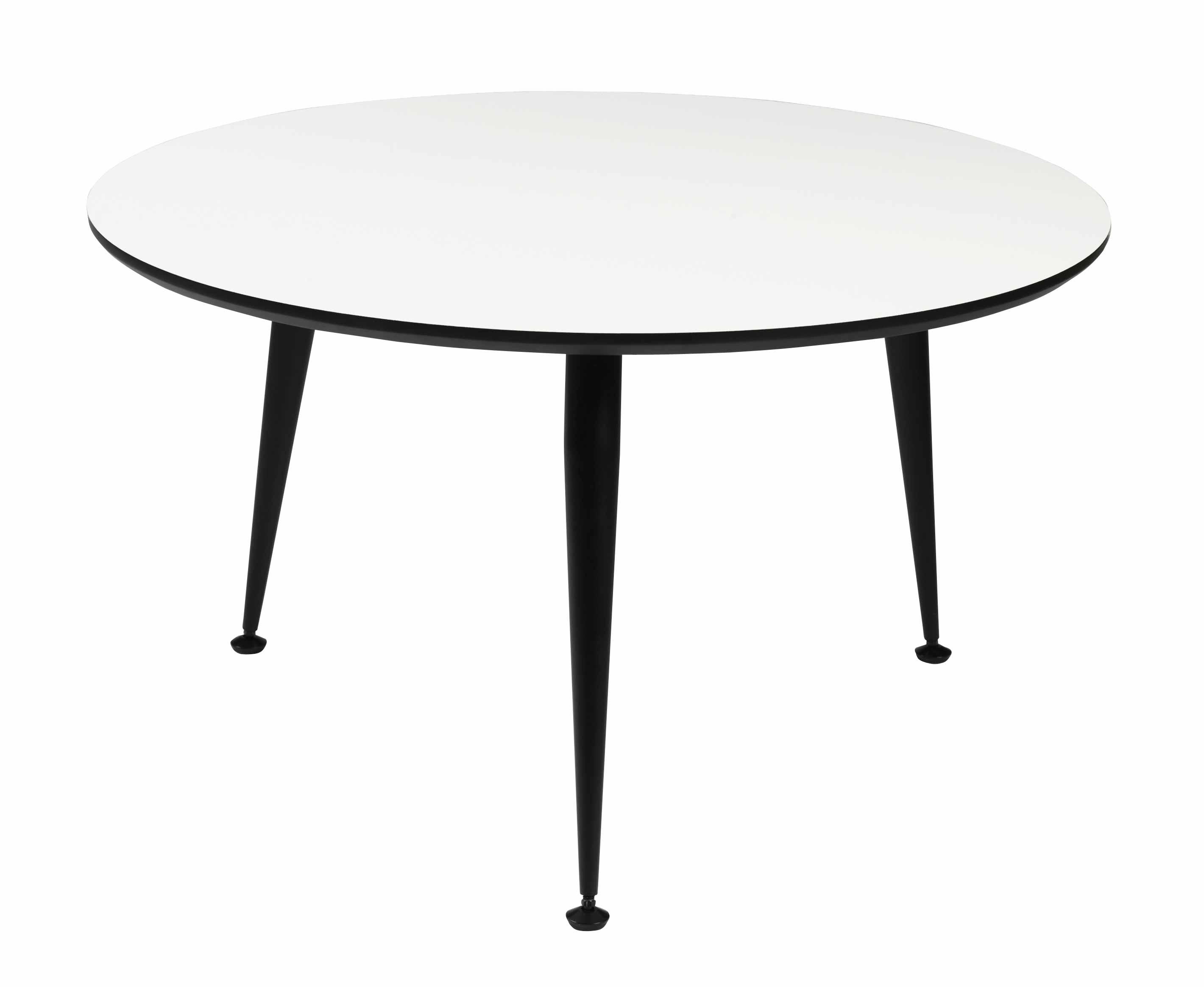 Strike sofabord - Hvidt træ, sort stål stel, rundt (Ø:85)