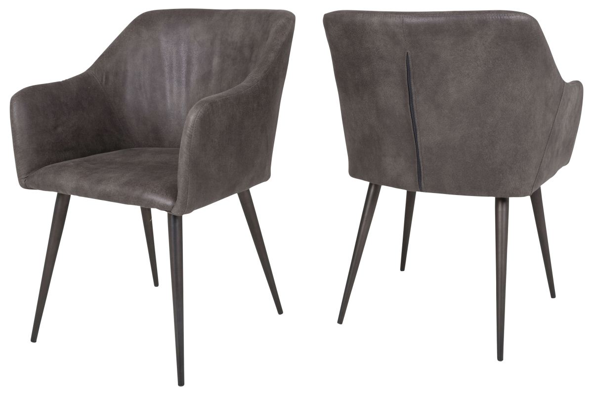 Canett miranda spisebordsstol m. armlæn - mørkegrå fra canett på boboonline.dk