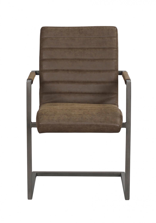 Clive spisebordsstol - mat brun PU læder og gråt stål