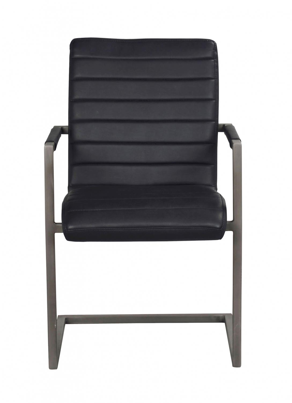 Clive spisebordsstol - sort PU læder og gråt stål