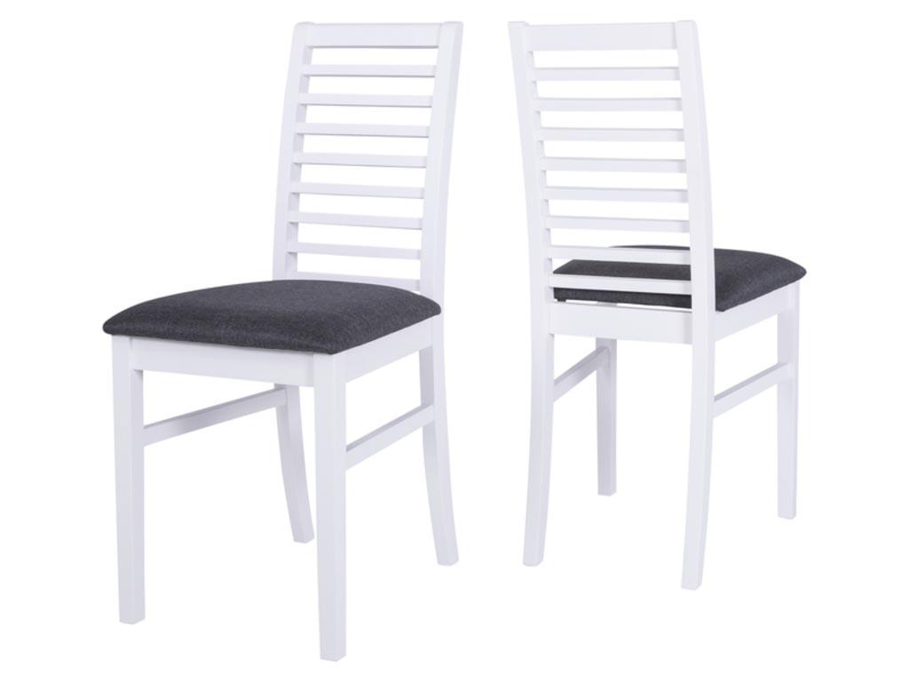 Image of   CANETT Gabriel spisebordsstol - hvid træ, grå stof