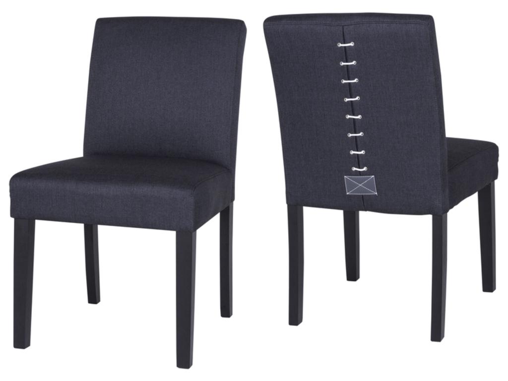 CANETT Matti spisebordsstol - sort/grå stof m. snøre og sorte ben