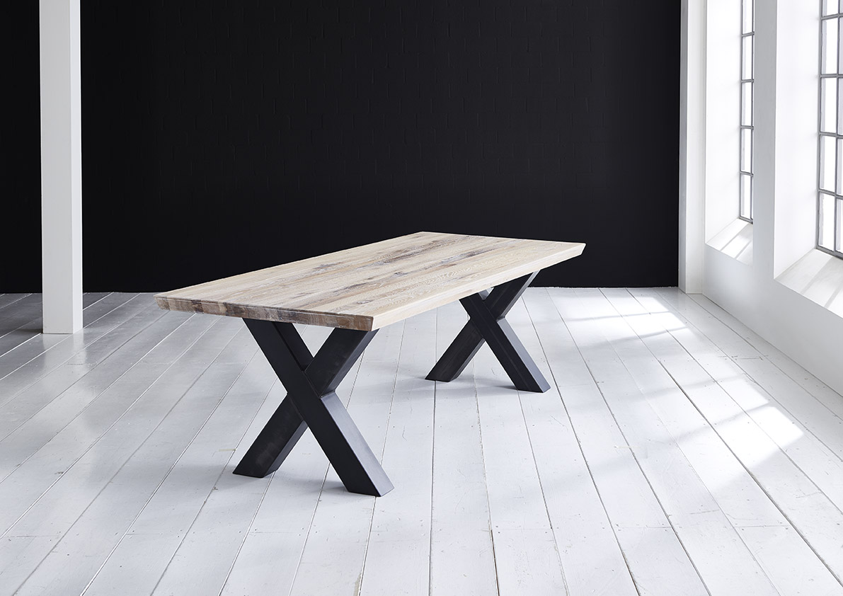 Concept 4 You plankebord - eg m. schweizerkant og Freja-ben, m. udtræk (180-260x100-110) 3 cm 220 x 100 cm 07 = mocca black