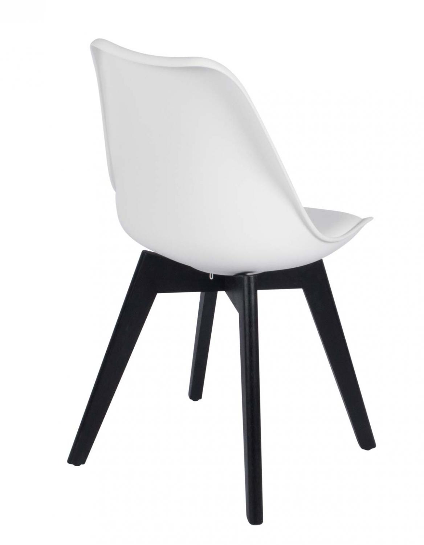 HOUSE OF SANDER Mia spisebordsstol - hvid kunstlæder og sort rubberwood