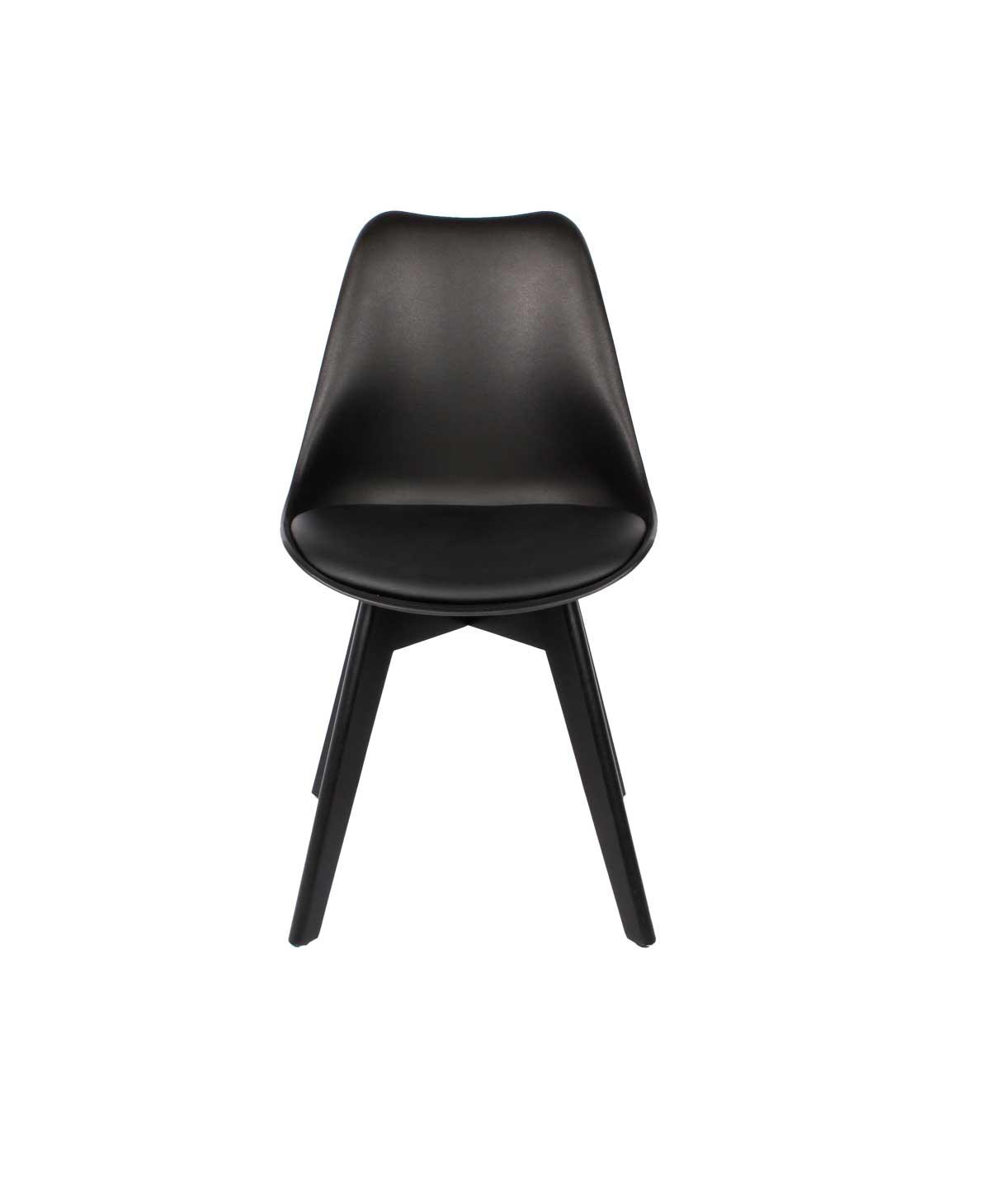 Preform mia spisebordsstol - sort kunstlæder og sort rubberwood