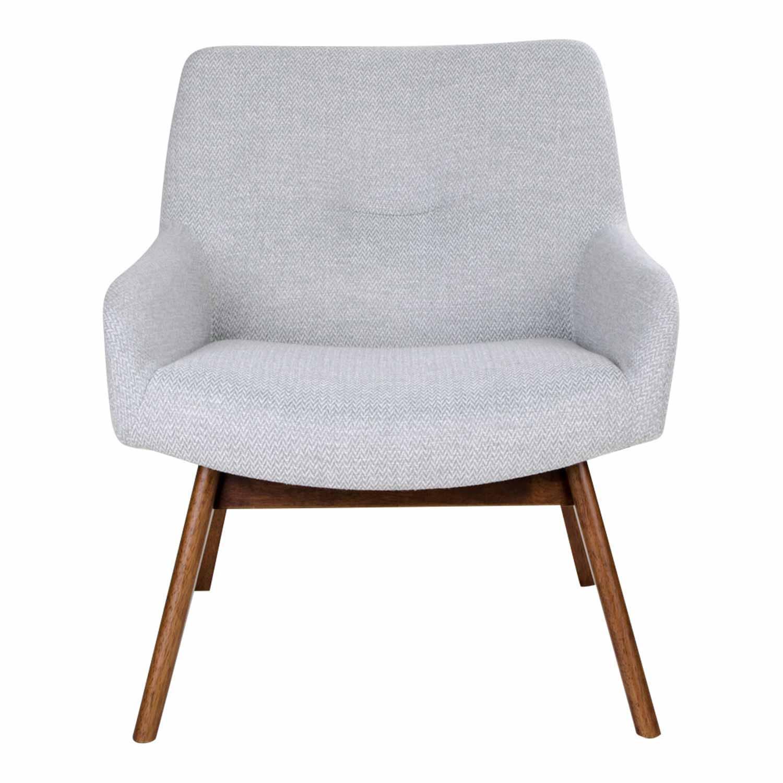 Image of   HOUSE NORDIC London lænestol - lysegråt stof/ brunt valnøddetræ, m. armlæn