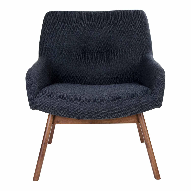Image of   HOUSE NORDIC London lænestol - mørkegråt stof/brunt valnøddetræ, m. armlæn
