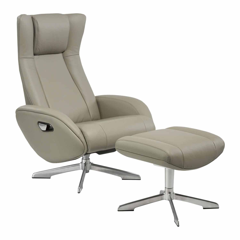 Image of   HOUSE NORDIC Riga lænestol - lysegråt læder/sølv aluminium, recliner m. fodskammel