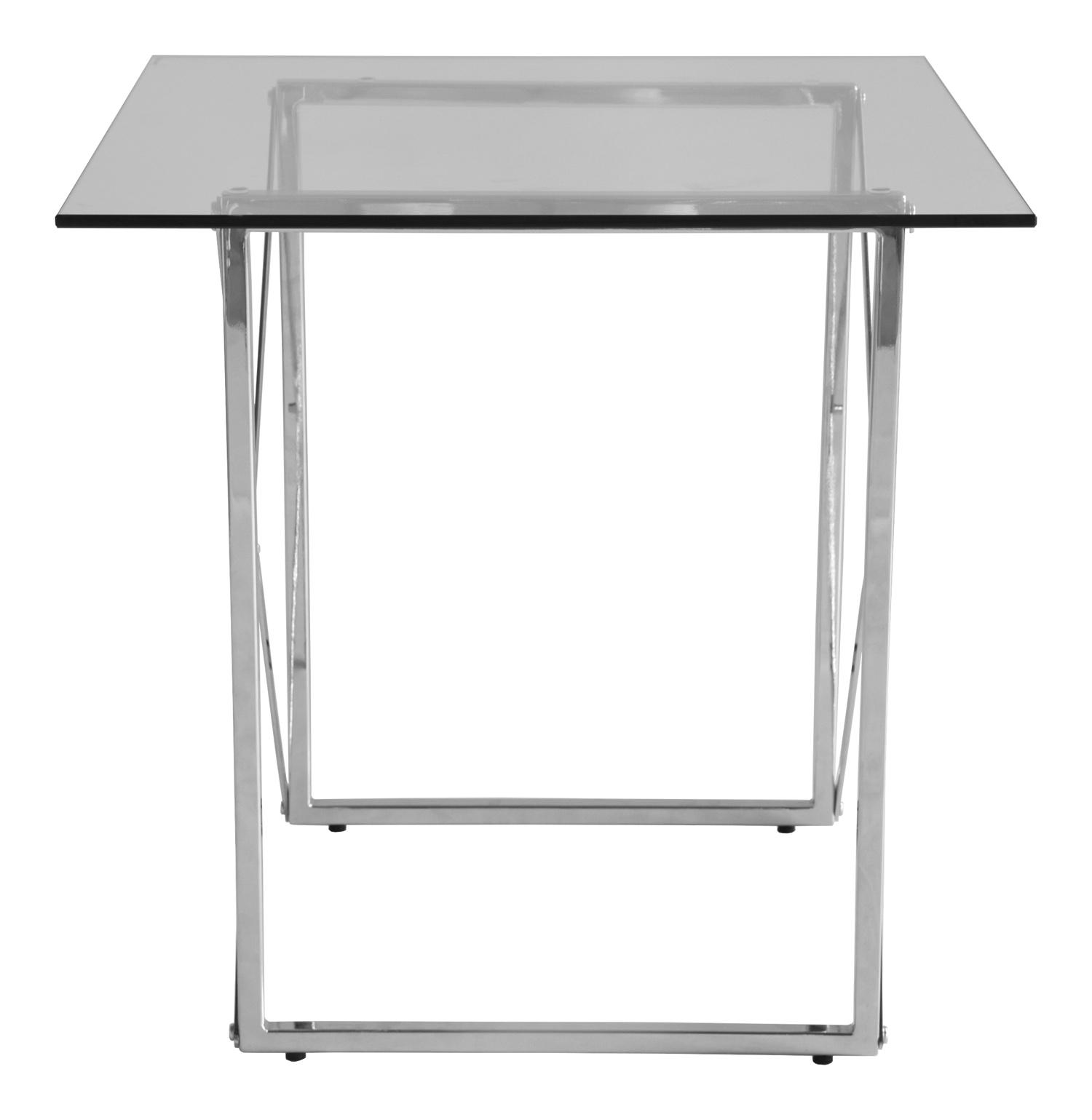 RGE Cross sidebord - glas/sølv glas/metal, kvadratisk (55x55) thumbnail