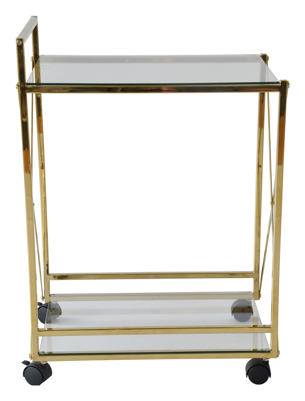 RGE Cross rullebord - glas/messing glas/metal, m. 1 hylde og hjul